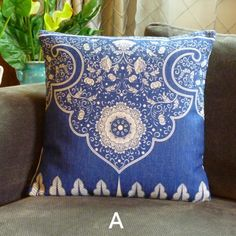 Blue and white porcelain flower pillows for couch Chinese style