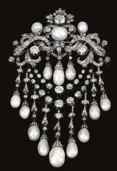 Pearl and diamond brooch which belonged to Queen Olga of the Hellenes, neé Grand Duchess Olga Konstantinovna of Russia.