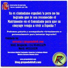 Ya es ciudadano español pero no ha logrado que le sea reconocido el Matrimonio en el Consulado respectivo?. Podemos guiarlo y acompañarlo virtualmente o personalmente en tal empeño