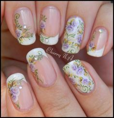 French Manicure with Lavender Roses & Diamond Embellishments from mjsa on indulgy.