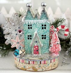 These little vintage style houses are great on top of a box to use for holiday décor and gift giving. They are also a fun size to use for an ornament for your tree.
