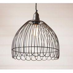 Enjoy this metal pendant hanging light that will add to your decor when you shop Primitive Star Quilt Shop. https://www.primitivestarquiltshop.com/collections/sconces-lighting/products/petal-cage-black-pendant #primitivefarmhousedecor