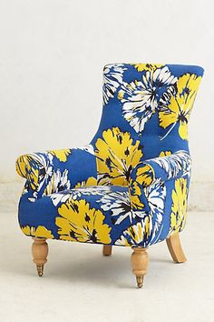 Seating - Hand-finished with a button back and lathe-turned, maple-laminated legs, this floral print chair is as sturdy as it is jubilant. Unique Furniture, Home Furniture, Furniture Design, Mykonos Blue, Floral Chair, Take A Seat, New Living Room, Home Decor Inspiration, Upholstery
