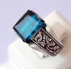 Sterling Silver 925 unisex ring ,ethnic design with -looking stone lab,authentique men ring. on Etsy, $68.00