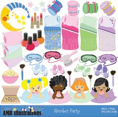 A fantastic package of over 50 cliparts including two frames with slumber party that I couldn't post along with this one... check it out on etsy.... #sleep over clipart, #sleep over clip art, slumber party clip art, slumber party clipart,
