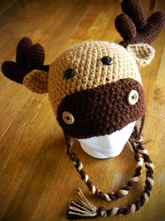 Moose hat from Brooke's Little Stitches pattern on Etsy. This one is not a free pattern.