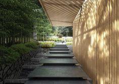 Kengo Kuma Designs Cultural Village for Portland Japanese Garden,Entry along Ticketing Pavilion. Image © Kengo Kuma & Associates