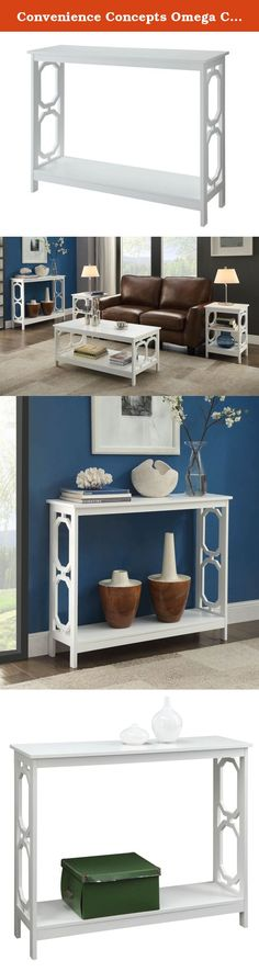 Convenience Concepts Omega Console Table, White. Add a welcoming style to your home with Omega Console Table. Featuring a broad top panel and a lower shelf for additional storage to showcase lamps, decorative display items, or simply as an accent piece. In a rich glossy white finish with sleek unique design it's sure to complement any home décor. Durable wood construction provides lasting durability. Tools are provided for easy assembly.