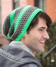 dc4654f3f5550 Slouchy Unisex Striped Hat. Mens Beanie Crochet ...