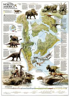 Dinosaurs of North America, Tubed by National Geographic Maps