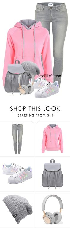 """""""Grey Pink"""" by wulanizer ❤ liked on Polyvore featuring Paige Denim, adidas Originals, The North Face and B&O Play"""