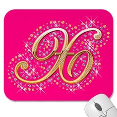 Gold & Diamonds - Pink and Cute Mousepad with Your Initial ''X''.