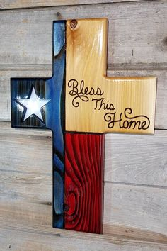 Texas flag, wood cross, bless this home, stained glass, Christian wall decor Wooden Cross Crafts, Wooden Crosses, Wood Crafts, Crosses Decor, Wall Crosses, Wooden Diy, Woodworking Projects Diy, Wood Projects, Woodworking Bed