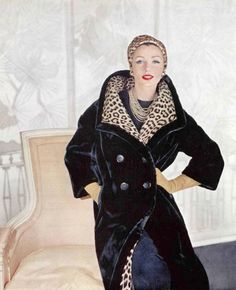 Lucinda Hollingsworth in black dyed Alaska seal fur coat by Revillon, 1959