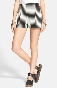 Free People Striped Ponte Shorts M Black/Ivory