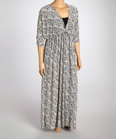 Another great find on #zulily! Black & White Abstract Surplice Dress - Plus #zulilyfinds