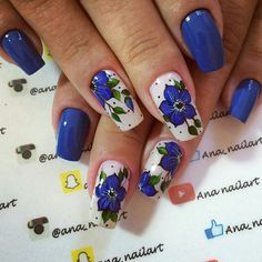 Dip Gel Nails, French Manicure Nails, Daisy Nails, Blue Nails, Colorful Nail Designs, Nail Art Designs, Wow Nails, Flower Nail Art, Stylish Nails