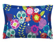 Day of The Dead by Anneline Sophia Cotton Pillow Sham, Aztec
