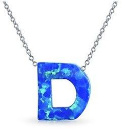 Bling Jewelry Synthetic Blue Opal .925 Silver Letter D Pendant Necklace.
