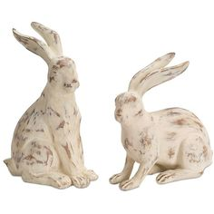 White Resin Rabbit Figurines, Set of 2 ($50) ❤ liked on Polyvore featuring home, home decor, white home decor, outdoor figurines, white rabbit figurine, outside home decor and bunny figurines