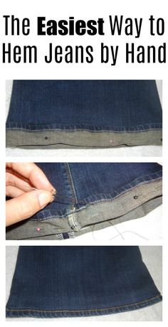 Easiest way to hem jeans and other pants by hand. This simple tutorial is the best way to hem those way-too-long jeans! Source by MadFking ideas jeans Sewing Hems, Sewing Pants, Sewing Clothes, Diy Clothes, Hand Sewing, Sewing Diy, Hemming Jeans, Hem Jeans, Altering Pants