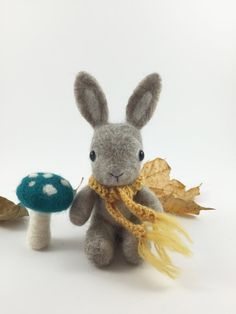 Needle Felted Bunny with Fairy Mushroom Woodland by MossyMaze