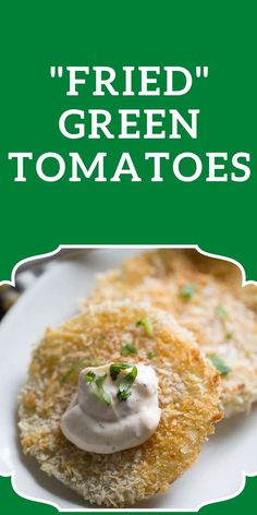 """There's nothing """"fried"""" about these oven-fried green tomatoes! Plump tomatoes are dredged in flour, and Japanese breadcrumbs then baked until crisp. Serve these along with a simple chipotle ranch dipping sauce and you have yourself a little taste of the south! Chipotle Ranch, Fried Green Tomatoes, Fries In The Oven, Green Tomato Recipes, Healthy Salads, Bread Crumbs, Yummy Snacks, Crisp, Appetizers"""