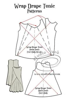 Studio Faro Wrap Drape Tunic, pattern puzzle by susannai need some time to understand this but its awesome Pattern Puzzle - Wrap Drape TunicI love these women's tunic sewing patterns. Here's a great collection of tunic sewing patterns - from boho to Tunic Sewing Patterns, Tunic Pattern, Clothing Patterns, Jumpsuit Pattern, Sewing Hacks, Sewing Tutorials, Sewing Projects, Pattern Cutting, Pattern Making