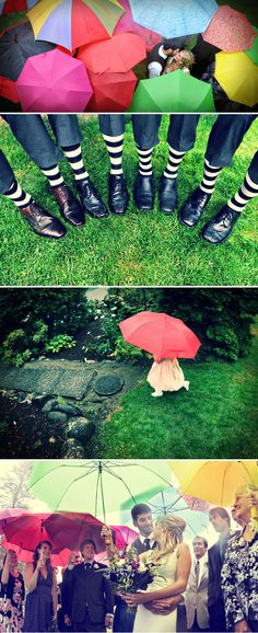 colorful umbrellas rain wedding striped socks- plan B in case of rain. It would be a cool idea for a shoot! :) Rainy weddings weddings www. Wedding Fotos, On Your Wedding Day, Wedding Pictures, Rain Wedding, Wedding Bells, Dream Wedding, Umbrella Wedding, Colorful Umbrellas, No Rain