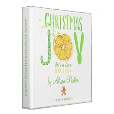 Christmas JOY watercolor modern recipes book 3 Ring Binder - bridal shower gifts ideas wedding bride