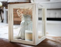DIY Windlicht wit van Schilderijtjes Decor, Candle Holders, Oversized Mirror, Deco, Candles, Home Decor, Holder, Mirror
