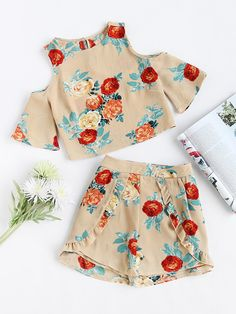 Shop Open Shoulder Floral Top With Ruffle Trim Wrap Shorts online. SheIn offers Open Shoulder Floral Top With Ruffle Trim Wrap Shorts & more to fit your fashionable needs. Girls Fashion Clothes, Teen Fashion Outfits, Tween Fashion, Kids Outfits, Cute Casual Outfits, Cute Summer Outfits, Stylish Outfits, Summer Dresses, Holiday Outfits For Teens