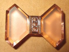 Gorgeous Pink Faceted Depression Glass Realistic Bow Bowtie Button...