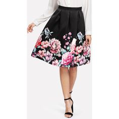 4b343fad9 Women Boxed Pleated Flower Print Skirt Multicolor Mid Waist Fit and Flare  Knee Length Skirt