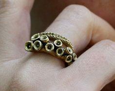 Pulpo Tentacle anillo antiguo Color Plata anillo ajustable