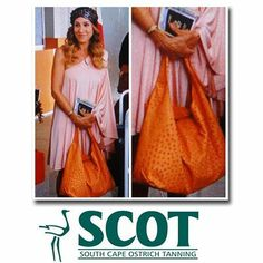 Few Fashion Items are as Timeless as Exotic Skin Handbags. #Style Queen Sarah Jessica Parker paired her salmon dress with Adriana Castro Meissa Hobo in Tangerine Ostrich. #ostrichleather #fashion