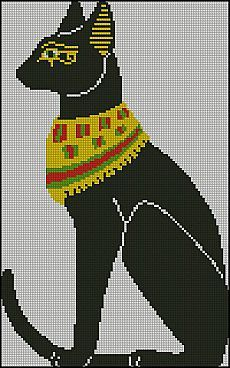 Beaded Cross Stitch, Cross Stitch Charts, Cross Stitch Designs, Cross Stitch Embroidery, Embroidery Patterns, Cross Stitch Patterns, Pixel Art, Egypt Cat, Egyptian Cats