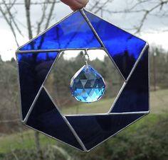 Stained Glass Hexagon cobalt blue suncatcher by ravenglassgirl, $38.00