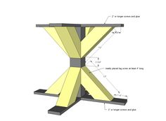 Ana White   Build a Square X Base Pedestal Dining Table   Free and Easy DIY Project and Furniture Plans