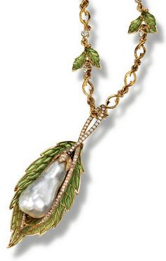 An Art Nouveau enamel, pearl and diamond necklace, circa 1900. Composed of a chain and a pendant, each decorated with foliate motifs set with green plique-à-jour enamel and circular- and single-cut diamonds, the pendant further decorated with a natural baroque pearl, mounted in 18 carat yellow gold. #ArtNouveau #necklace