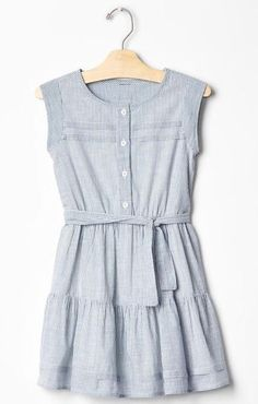 Gap Kids Girls Blue White Striped Tiered Dress Small 6-7 NWOT