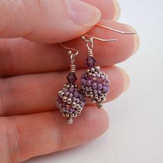 Beaded Bead Jewelry - earrings - seed bead woven peyote stitch