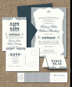 VINTAGE WEDDING INVITATIONS - Custom Printable Designs - Navy Blue Striped Nautical. $45.00, via Etsy.