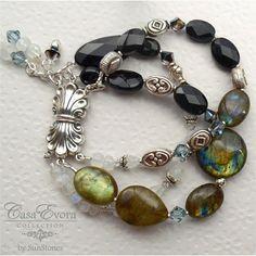 Labradorite Black Onyx Rainbow Moonstone and Sterling by SunStones, $92.00