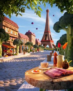 Foodscape photographer Carl Warner uses fresh fruit, vegetables and meat to   bring his imagination to life. His latest book is called A World of Food. He   compares his work to Willy Wonka's creations in Charlie and the Chocolate   Factory.