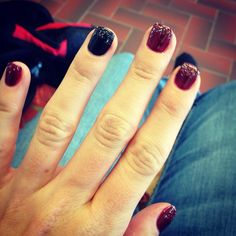 Cranberry & black shellac with glitter fade   #fallnails