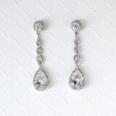 CZ Earrings with Flower Figure Eight Teardrops