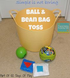 Bring baskets and balls. Beanbags need to be put away at night in case it rains. All the kids should help clean up (as much as they can) at the end of each day. Baskets make this easier.
