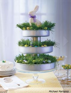 Make this sweet tiered server and 45 BEST Spring Party, Craft & Decor Tutorials EVER with their LINKS!!! GIFT, PARTY, EVENT, SPRING, WEDDING DECOR. Blog & Photos from MrsPollyRogers.com