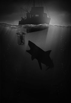 Awesome 'Film Noir' Illustrations That Pay Tribute To Famous Movies… Hai Tattoo, Jaws Movie, Jaws 2, Jaws Film, Movie Tv, Pet Sematary, Megalodon, Alternative Movie Posters, Great White Shark